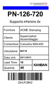Cartellino kanban stampato con KanbanBOX